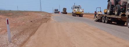 Roadwork in progress on Shack Road