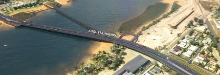 Artist impression of the Joy Baluch Bridge duplication project outcome, showing the existing bridge from above with a new bridge running parallel to it, and a looping pedestrian ramp on the east side projecting north of the bridge before looping back towards the Eastside Foreshore.