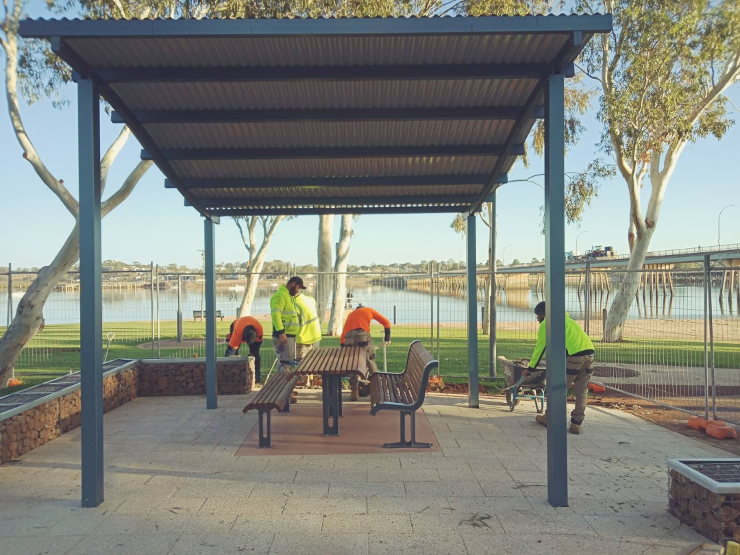 Shelter 1, paved areas, bench & table with Gabion seating
