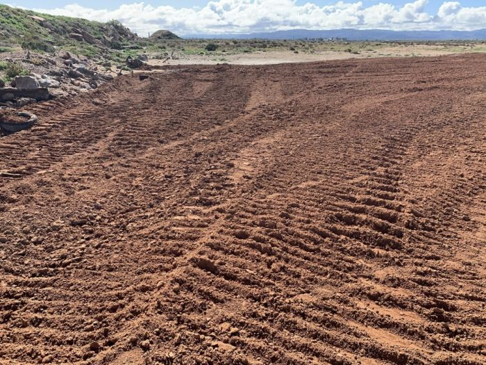taken behind the Pistol club looking North.  The photo shows the roughness of the surface in preparation for seeding of the western edge on 20 August.
